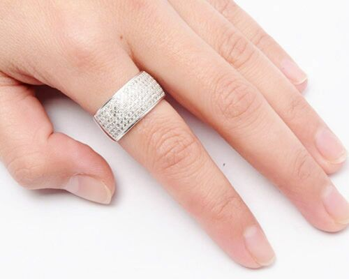 Micro Pave Cz Wide Band .925 Sterling Silver Ring Sizes 4-11