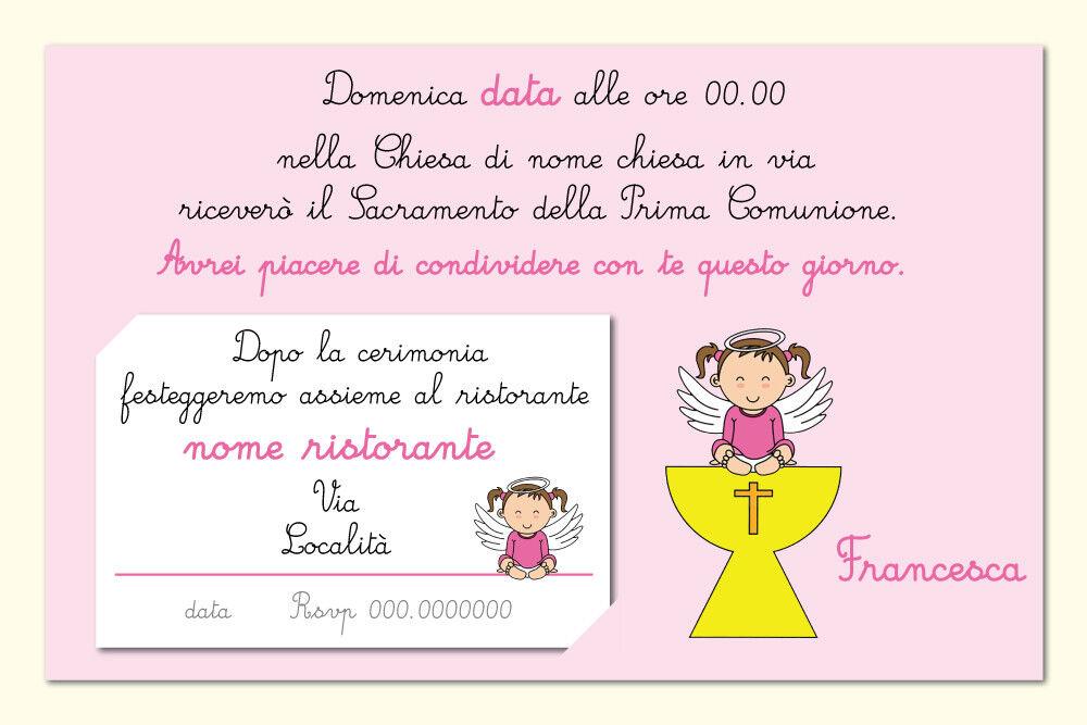 PRTECIPAZIONE INVITO PERSONALIZZATA CON BUSTA E INVITO PRTECIPAZIONE COMUNIONE BIMBA rosa AVORIO b9b833