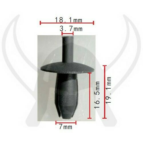 50 X Clip De Retención De Tipo Empuje se adapta a VW 171885767 50107 Nylon Negro Gris