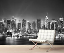 New York City Night Skyline Wall Mural Photo Wallpaper Picture Black and White