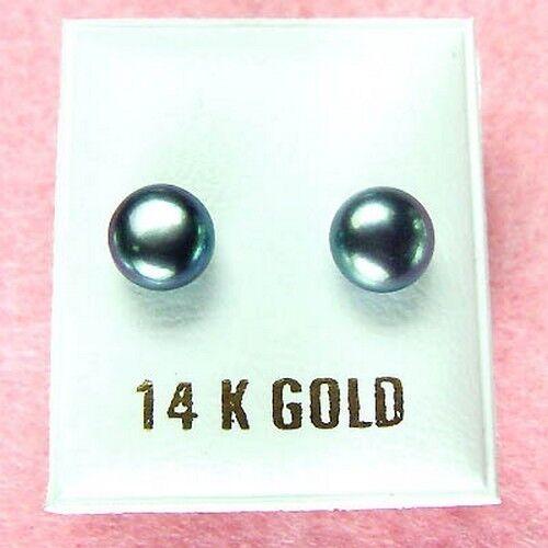 GE357 14K or blanc-gris perle boucles d/'oreilles clou
