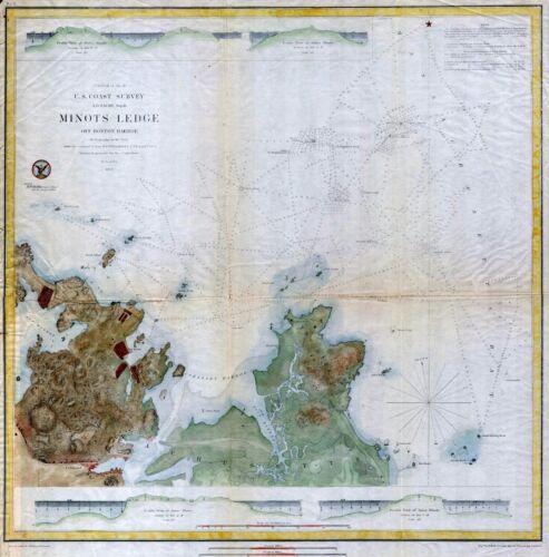 Map of Minots Ledge near Boston Harbor Cohasset 1853  USC.S