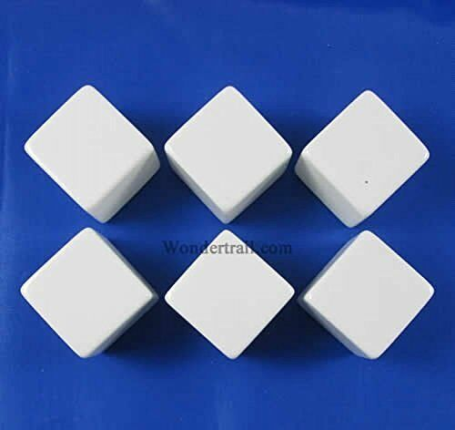 White D6 Blank 25mm Dice Set with Stickers 6