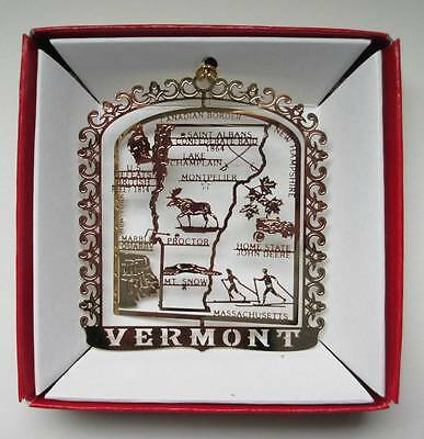 Vermont Ornament State Landmarks Brass Christmas Travel Souvenir Gift