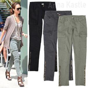AnnaKastle-New-Womens-Rider-Slim-Leg-Tight-Stretch-Skinny-Cargo-Ankle-Zip-Pants