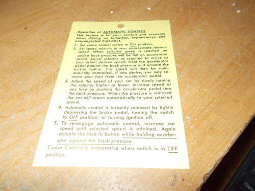 1970 1971 1972 1973 1974 CHEVROLET MONTE CARLO NOVA VEGA CRUISE CONTROL INS TAG