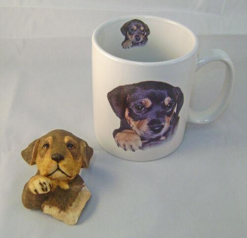 Cute Rottweiler Puppy Ceramic Mug and Sculptured Rottweiler Head Magnet