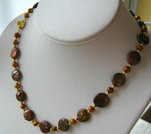 """18/"""" Designer Chocolate Freshwater Coin Pearl Necklace with Sterling Silver Clasp"""