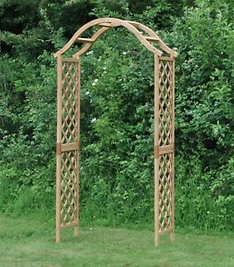 Selections-Wooden-Garden-Arch-with-Curved-Top-Tan