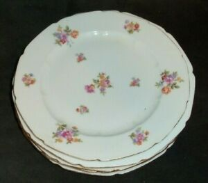 Vintage-4-Pieces-Of-Baronet-Bohemia-Floral-Bouquet-7-5-034-Diam-Salad-Plates-BAR28