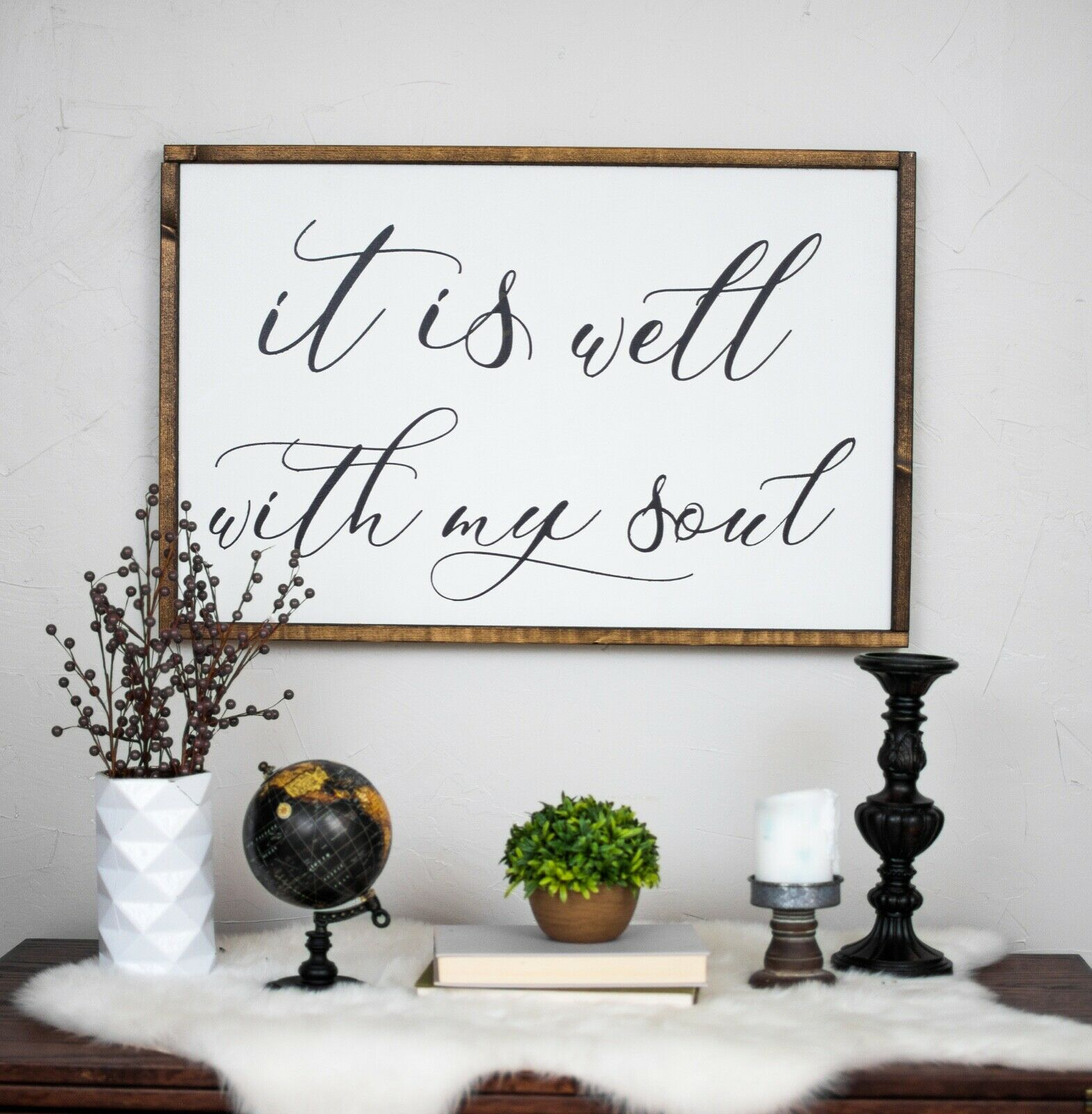 It Is Well With My Soul Farmhouse Large Decor Religious Sign Wall Art Classy