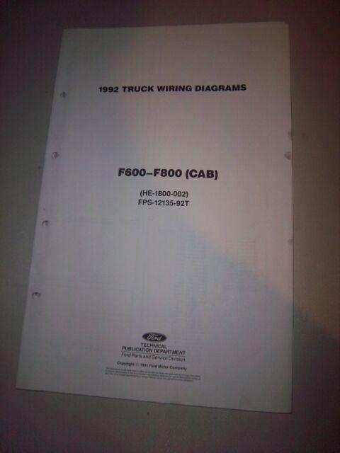 1992 Ford Truck Cab Foldout Wiring Diagram F600 F700 F800
