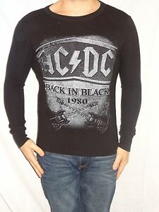 AC-DC-Back-in-Black-Long-Sleeve-Black-100-Cotton-Thermal-Size-Men-039-s-S