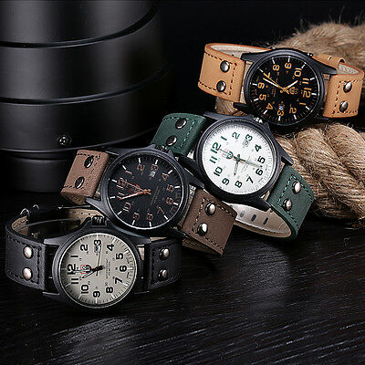 Vintage Men's Waterproof Calendar Stainless Steel Strap Sport Quartz Army Watch