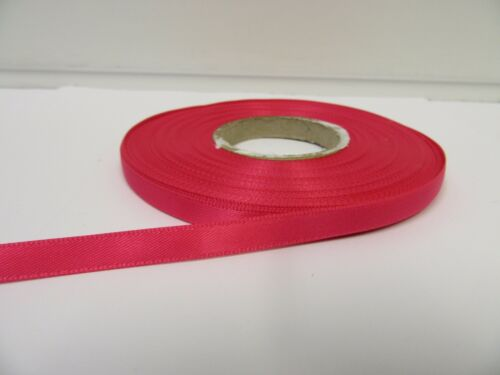 3mm 7mm 10mm 15mm 25mm 38mm 50mm HOT BRIGHT PINK Satin Ribbon double sided roll