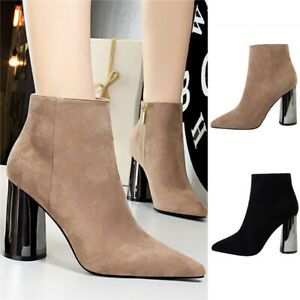 Ladies-Womens-Smart-Office-Ankle-Boots-Faux-Suede-High-Block-Heels-Zip-Up-Shoes