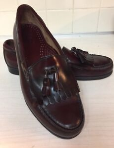 8018a66ddee Image is loading WEEJUNS-BASS-Burgundy-Leather-Kilty-Tassel-Loafers-Shoes-