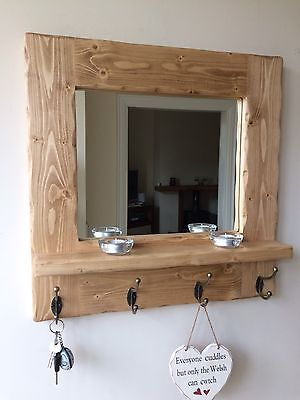 Beautiful Quality Handmade Rustic Wooden Mirror With Shelf And Hooks Ebay