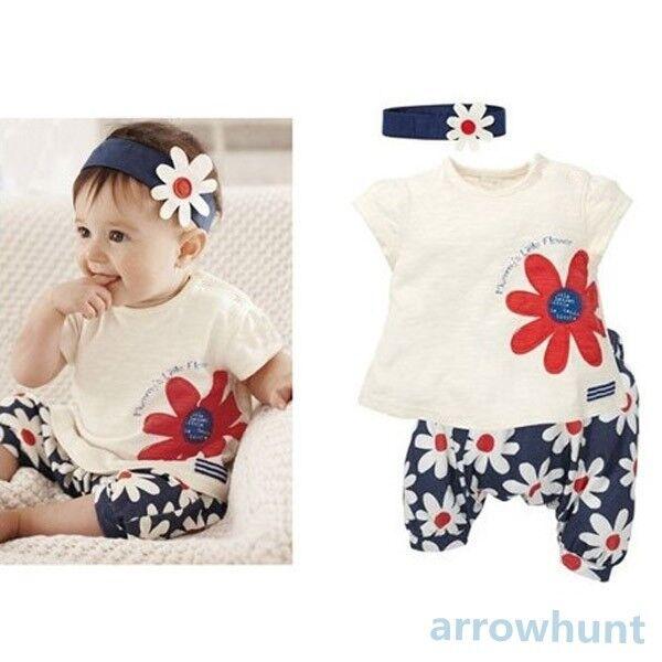 3pcs Baby Girl Kid T-shirt Headband+Top+Pants Shorts Flower Outfit Clothes Set