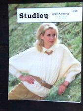 "Studley Knitting Pattern: Ladies Aran Sweater with Collar, 32-42"", 358"