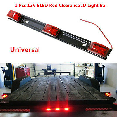 """2x Amber Oval Chrome Side Marker 16/"""" Red 6 LED Stainless Steel Clearance ID Bar"""
