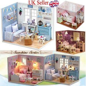 DIY Dolls Houses Building Handmade Miniature Kits LED Light Sunshine Lovers Gift