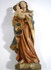 Madonna Heilige Mutter Gottes Maria mit Jesus Kind Wachs polychrom H. 53 cm