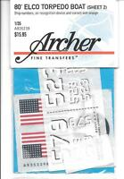 Archer Dry Transfers, Elco Torpedo Boat Markings 1/35 Ar35 239 St