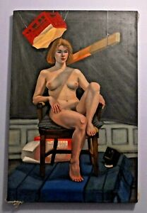 """ORIGINAL PAINTING OIL ON CANVAS, NUDE, 20x30"""", by G. CRUZ, New York"""