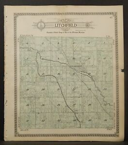 Hillsdale County Michigan Map.Michigan Hillsdale County Map Allen Or Litchfield Township Double
