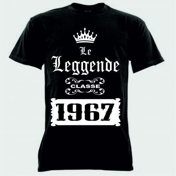 10 T-shirt nera uomo donna scritta le leggende CLASSE 1967  anno festa coscritti
