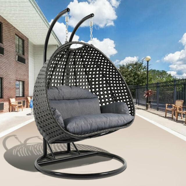 Admirable Leisuremod Outdoor Patio Wicker 2 Person Hanging Egg Swing Chair With Stand Bralicious Painted Fabric Chair Ideas Braliciousco