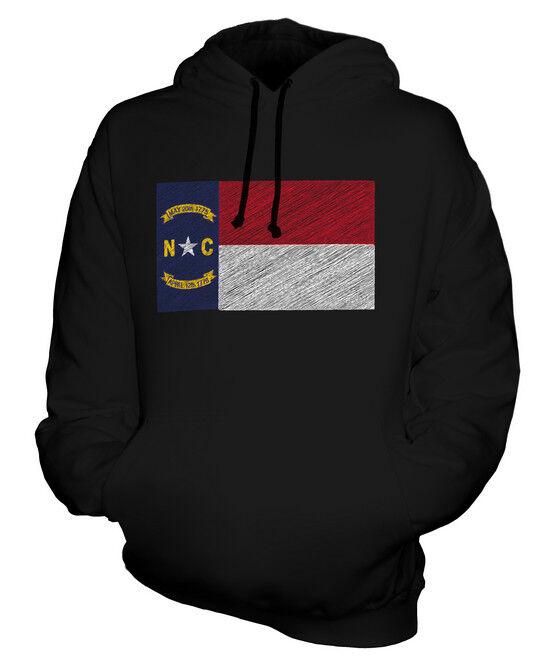 NORTH CAROLINA STATE SCRIBBLE FLAG UNISEX HOODIE TOP GIFT NORTH CAROLINIAN