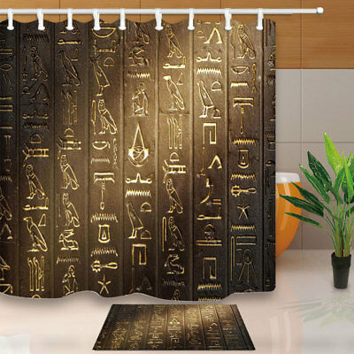 Ancient Egyptian Hieroglyphs Shower Curtain Set Polyester Bathroom With Hooks