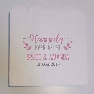 Personalised White sweet bags Wedding favour candy Happily ever after Love 19HAP