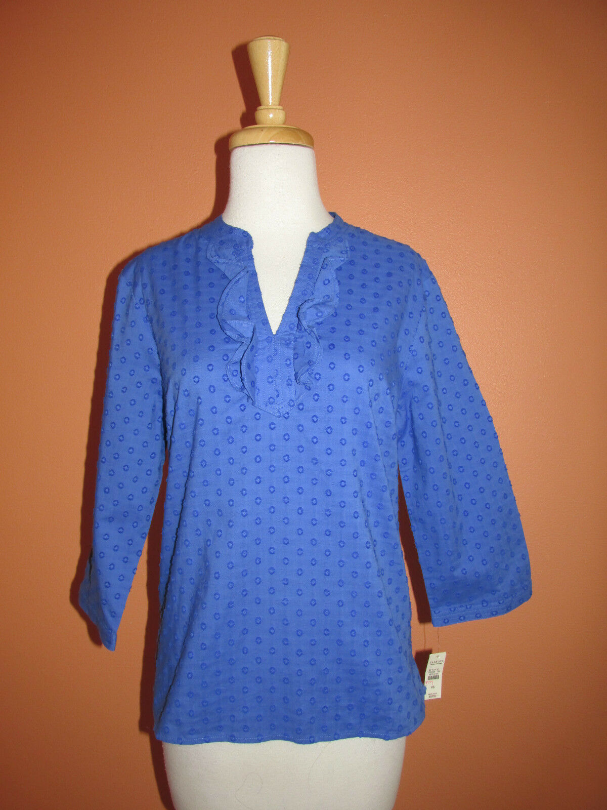 New Talbots Outlet Size SP bluee Ruffle Trim 3 4 Sleeve Cotton Tunic Top