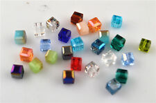10pcs Random Mixed Color Glass Crystal Faceted Cube Beads 10mm Spacer Findings
