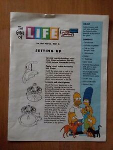 Details About 2004 Game Of Life Simpsons Edition Replacement Part Instructions
