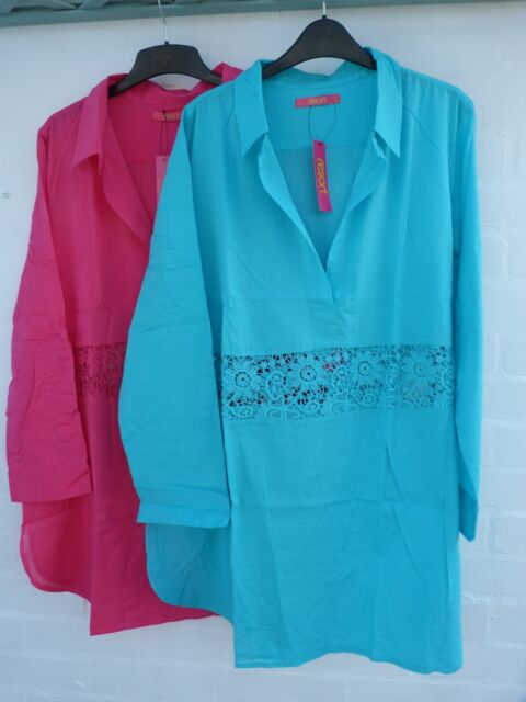 PINK TURQUOISE SHIRT / COTTON  / SUMMER SHIRT / TOP.. 16 / 18 TUNIC / NEW
