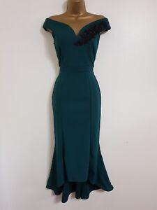 RRP £37 Quiz Dress Bottle green Embroidered Bardot dip hem dress