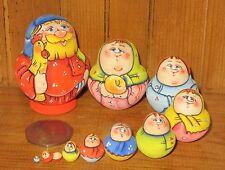 Russian tiny HAND PAINTED nesting doll family 10 miniature Matryoshka Rooster