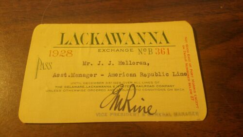 1928 DL&W DELAWARE LACKAWANNA AND WESTERN EMPLOYEE PASS