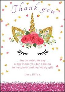 unicorn personalised thank you birthday party invitation girl