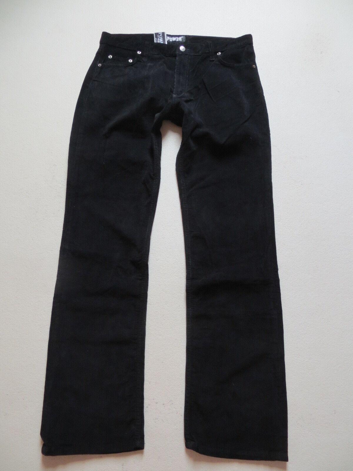 Original POWER Cord Jeans Hose, W 32  L 30, black   NEU   Model 921 Cordhose