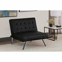 Leather Tufted Chair Black Faux Modern Chaise Couch Contemporary Bed Sleeper