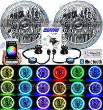 "Jeep Wrangler 7"" Bluetooth Phone RGB SMD Color Change Halo H4 LED Headlight Pair"