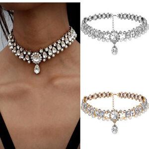 Crystal-Choker-Fashion-Chunky-Jewelry-Statement-Women-Chain-Pendant-Bib-Necklace