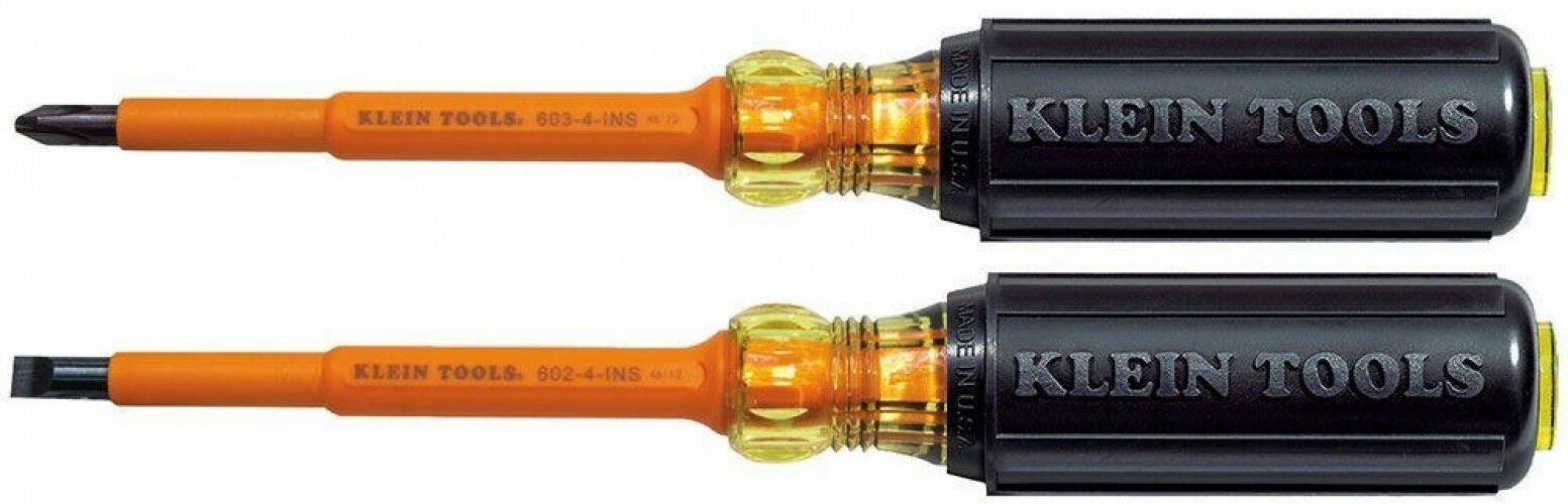 2-Piece Insulated Screwdriver Set Flame Retardant Handle Electrical Working Tool