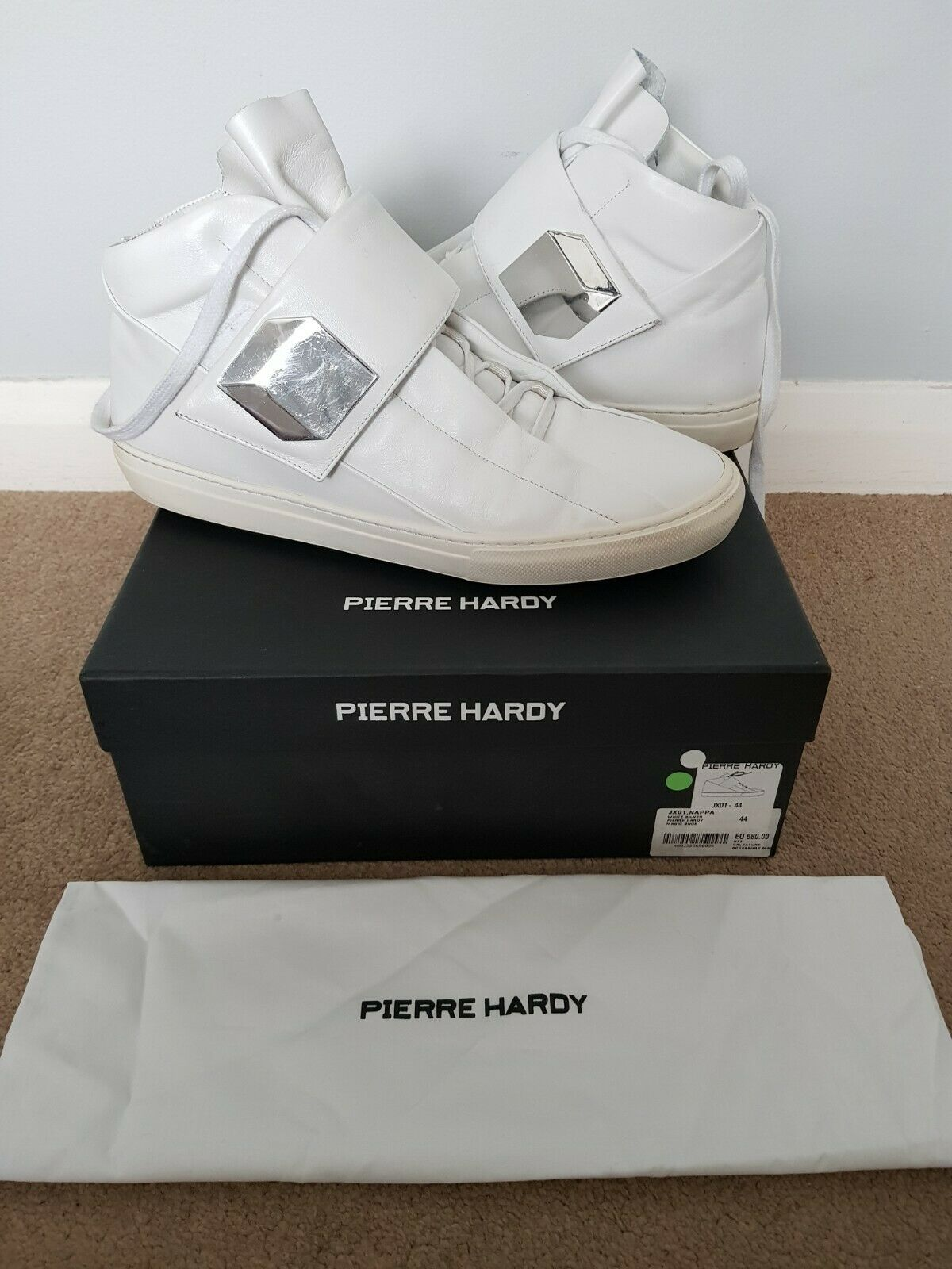 Pierre Hardy JX01 Whie Nappa Mens Size 10 Trainers - Used very good condition