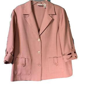 Women-039-s-Alfred-Dunner-Blazer-Size-16-Dusty-Rose-3-4-Sleeves-Vintage-Jacket